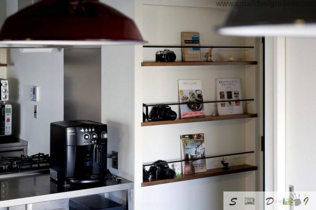 Functional appliances and kitchen parts can be met in all rooms of the loft apartment