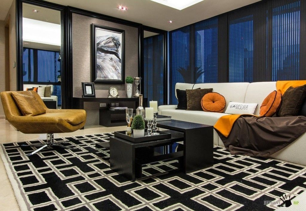 Singapore Apartment Modern Design Ideas in dark color theme ans inwrought rug