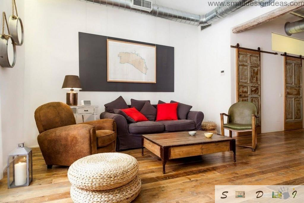 Nice Industrial apartment living zone with lots of rustic things