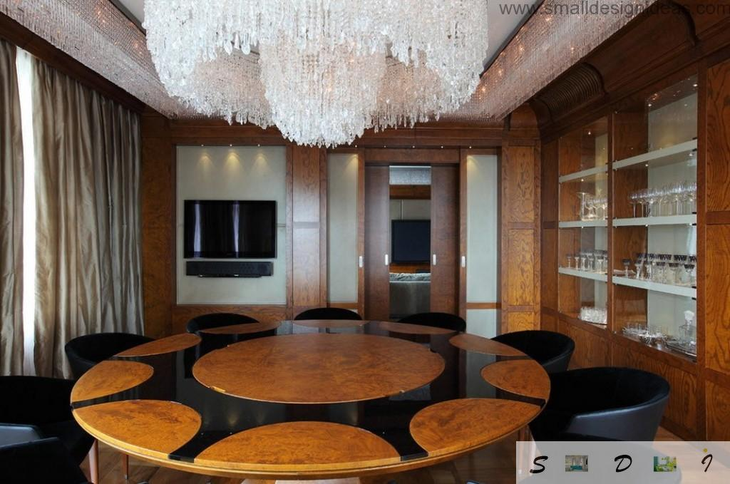 Handicraft table lacquered in the overall style of the whole chic Moscow apartment