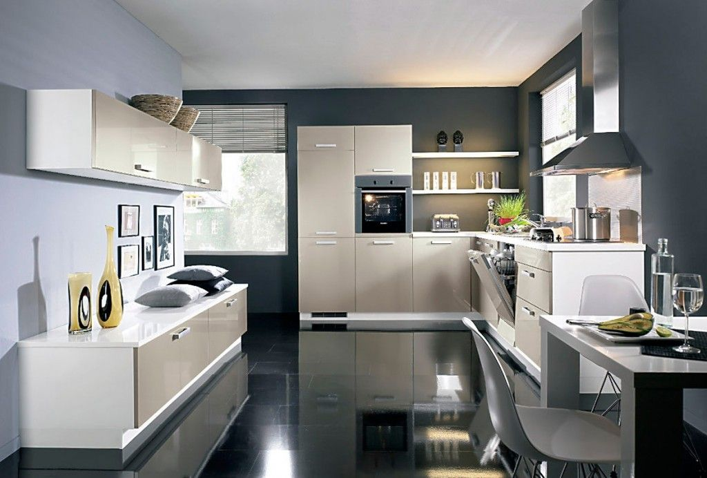 Modern Kitchens Glossy Cabinets Refacing. Glance film of the kitchen cabinet cladding is almost impossible to recognize by bare eye