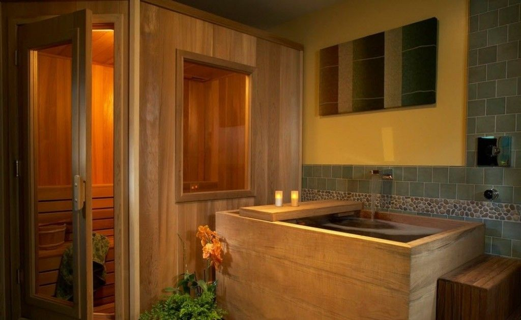 Oriental Style Bathroom Design Ideas. Hinoki bathroom is very popular in Japan