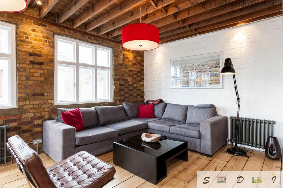 Wooden beams emphasize the natural and Scandinavian stylistic of the modest living