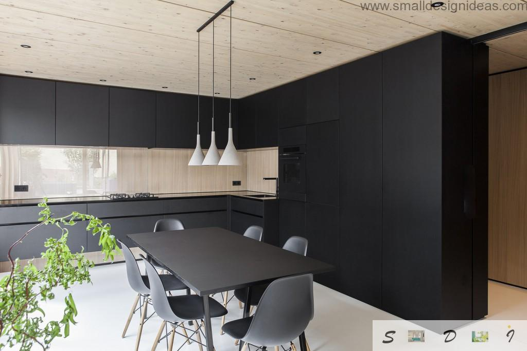 Kitchen in the unexpected white and wooden contrast and minimalistic style