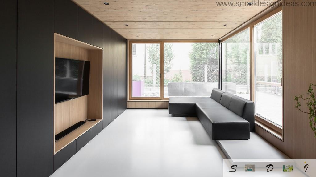 Full of light contrasting living room in the minimalistic house