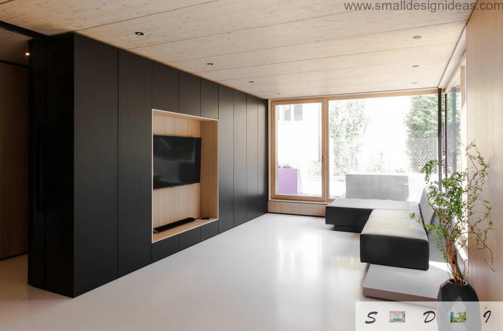 Original design of the living room in the minimalistic private house