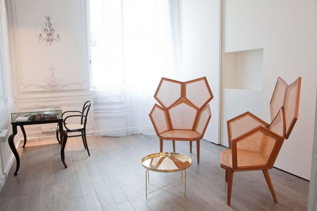 French Apartment Baroque Eclectic Modern Interior Design mix with unusual designed chair in the form of bee comb