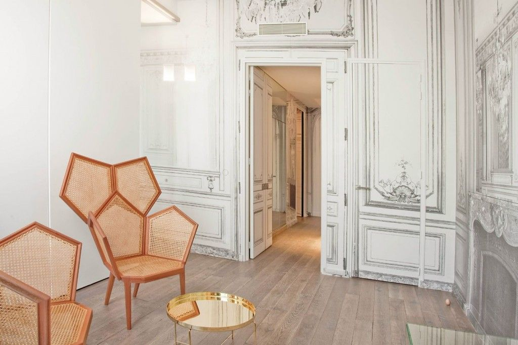 French Apartment Baroque Eclectic Modern Interior Design. White  Artificially Aged Wallpaper