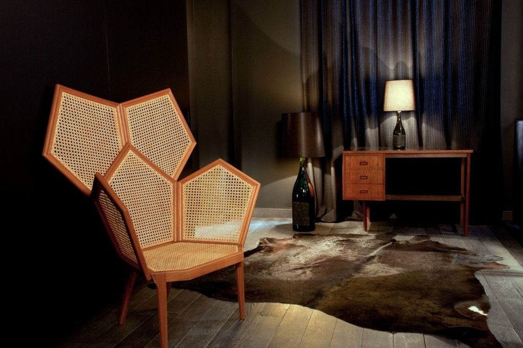 French Apartment Baroque Eclectic Modern Interior Design. Dark bedroom with comb designed chair