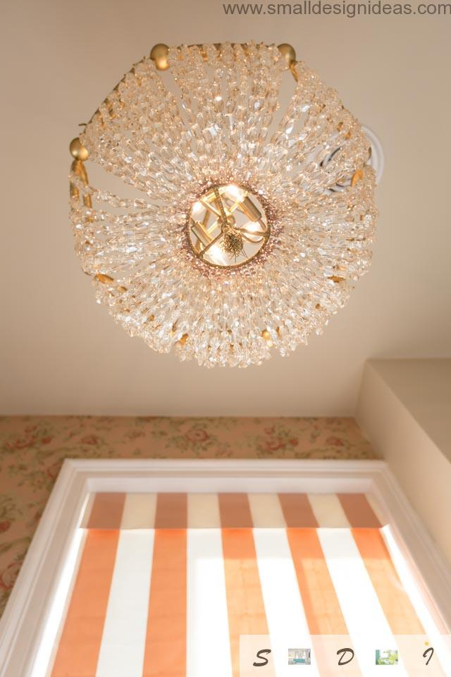 Chic crystal chandelier in the classic bathroom design