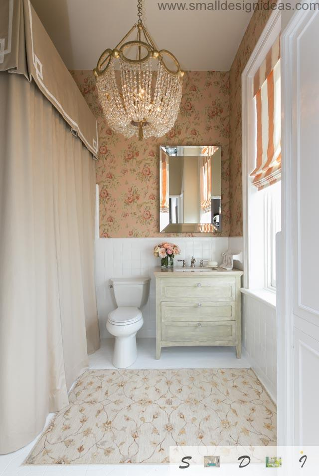 Classic interior of the small bathroom