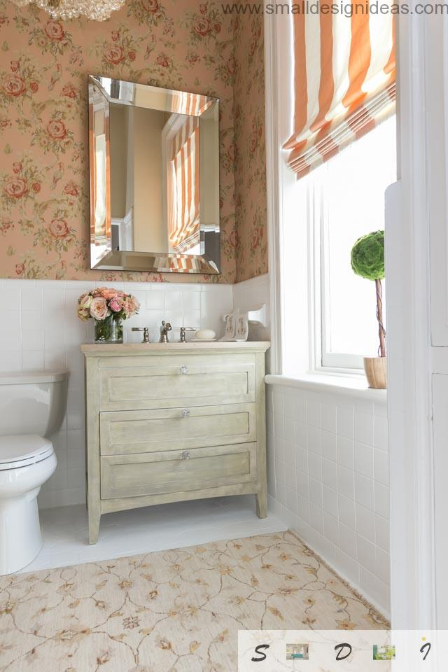 artificially weathered chest of drawers in the classic interior of the bath. Classic Style Small Bathroom Remodel