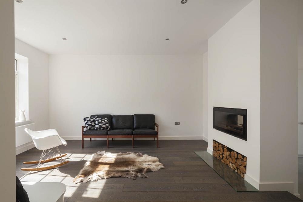 Scandinavian Style Private House Interior Designю Eco materials in the white living room