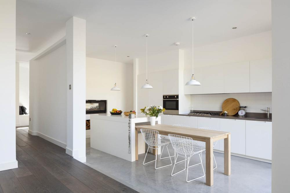 Scandinavian Style Private House Interior Design in the spacious and bright kitchen