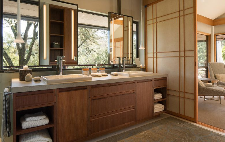 Japanese interior in the bathroom with light atmosphere