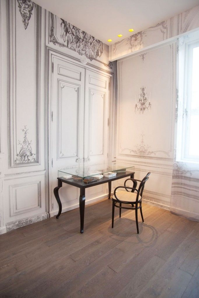 French Apartment Baroque Eclectic Modern Interior Design. Home office in the overall style