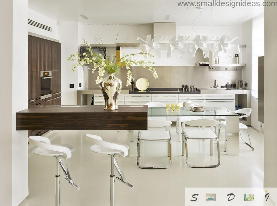 Colorful Design Ideas for Modern Kitchen with tempered glass table as a zest