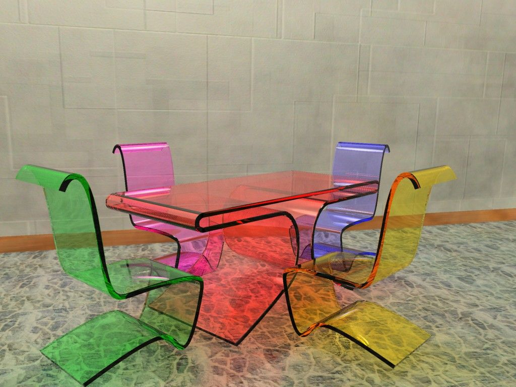 Transparent colorful furniture for the kitchen