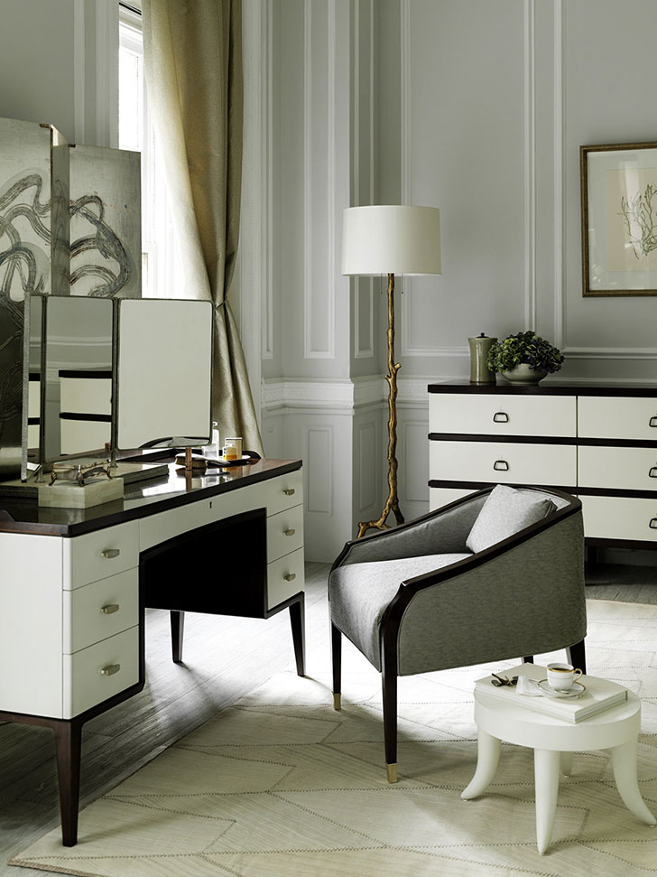 Businesslike classic furniture for boudoir at the Art Deco bedroom