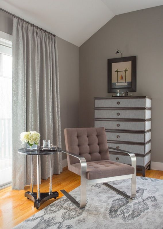 Wall Pictures House Interior Design Ideas with luxurious gray upholstered metal framed armchair
