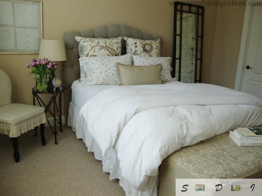 Provence cozy bedroom in the pastel gamma