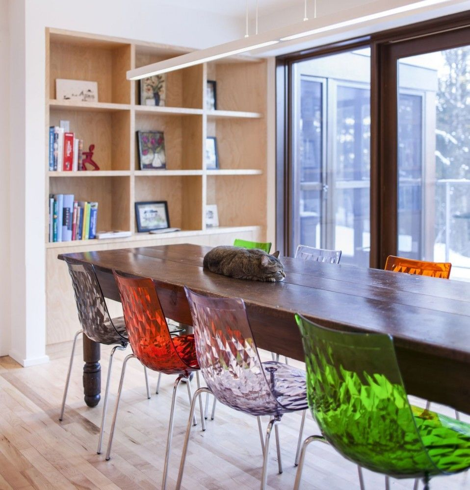 Modern kitchens can`t do without colorful plexiglas chairs