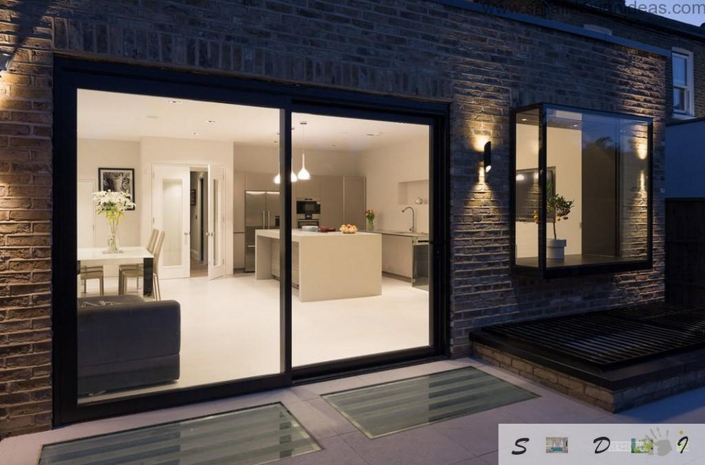 Wall glass panels instead of windows making house design look more spacious and fresh