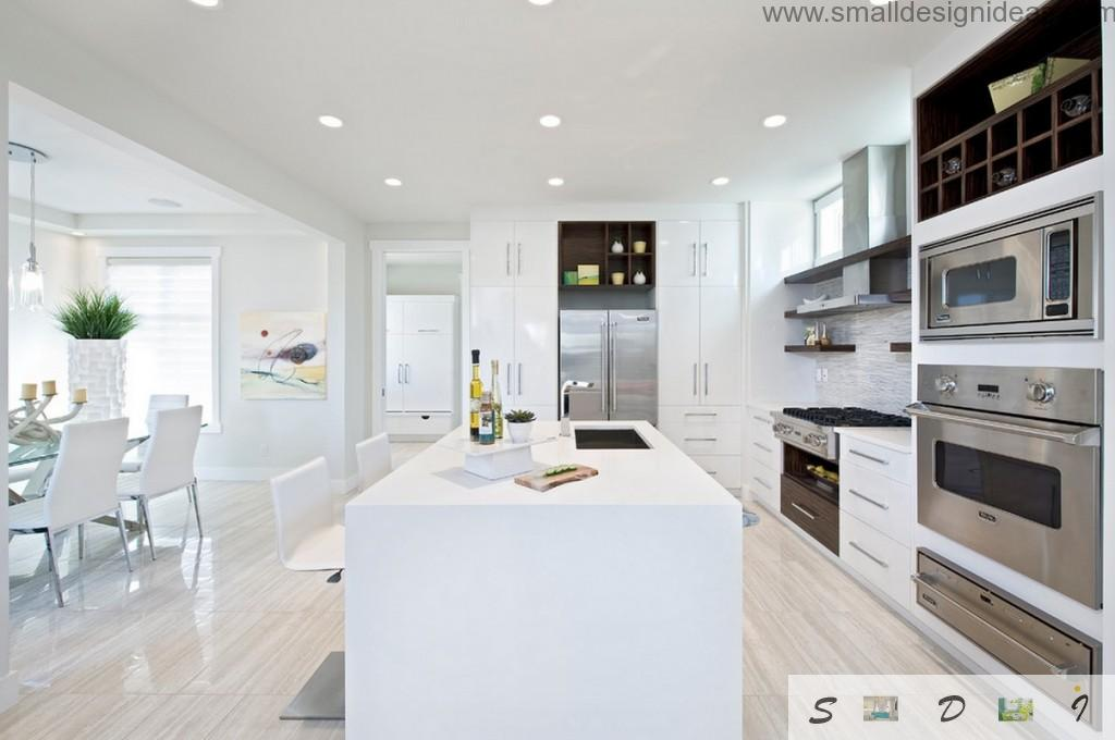 Another kitchen with bright white surfaces and island, zoning glass screens