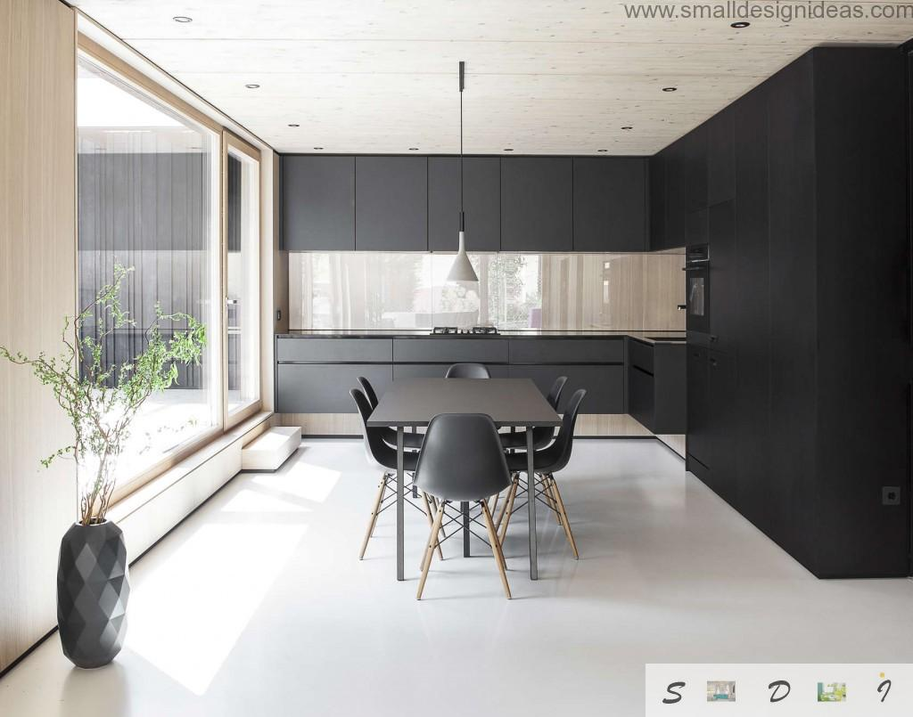 Kitchen with dining zone and the wall glass panel instead of the window in the German private house