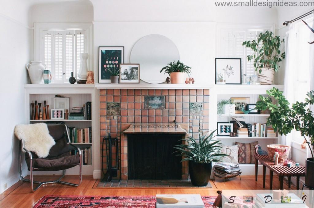 European design implies hearth in every interior of the living room