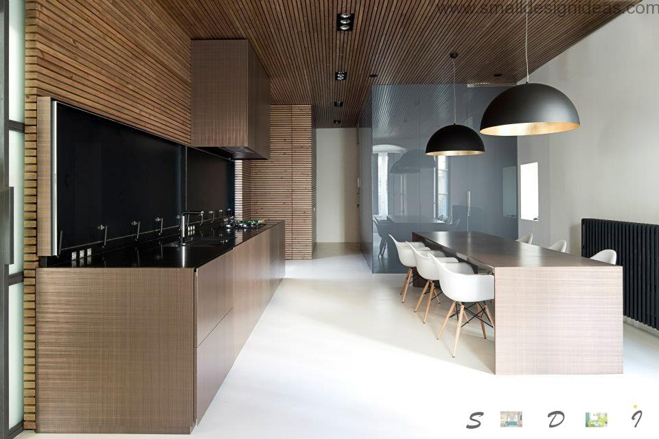 Best wooden design in the kitchen with dining zone