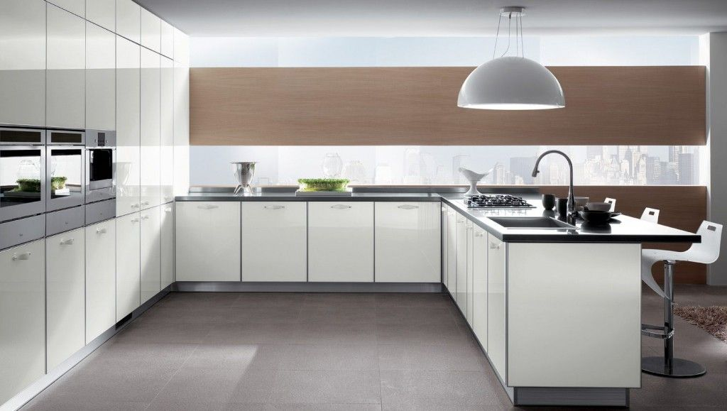 White cabinet surfaces and the modern Kitchens Glass Backsplash Design