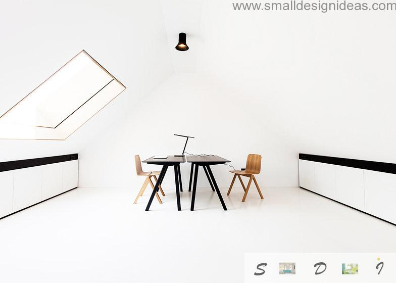 German Minimalistic House Design in the home office at the attic