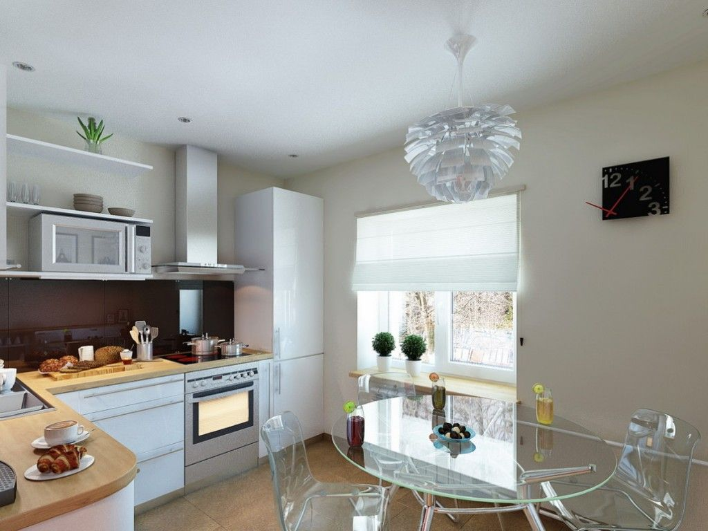 Glass furniture fits any kitchen interior