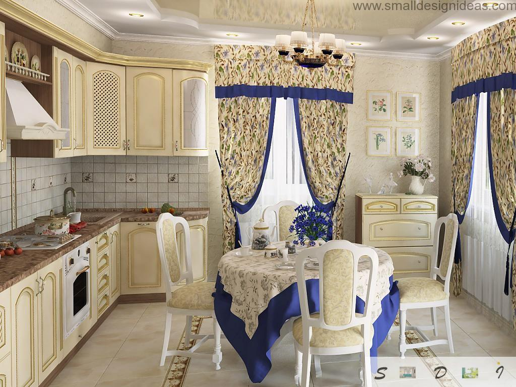 Blue leitmotiff of the tablecloth and curtains in the classic designed kitchen