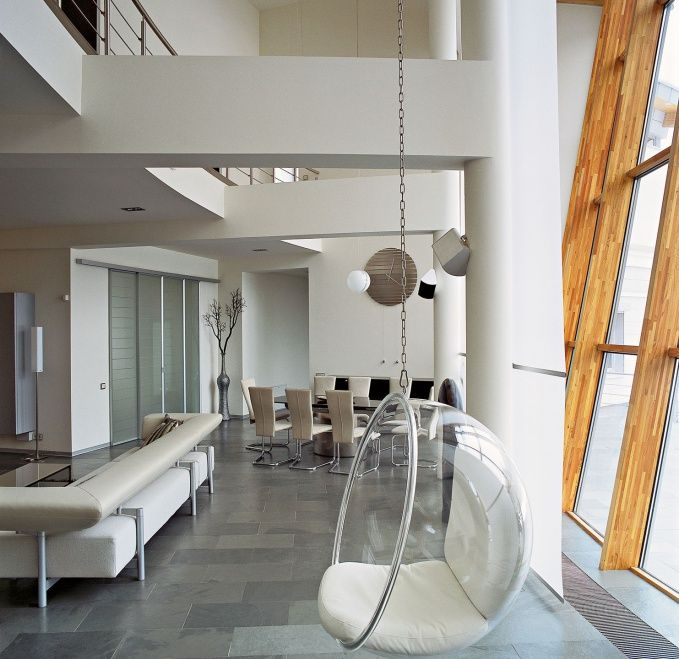 Spherical transparent furniture for the modern apartment interior