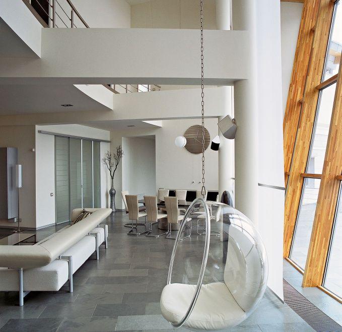 Spherical transparent furniture for the modern apartment interior