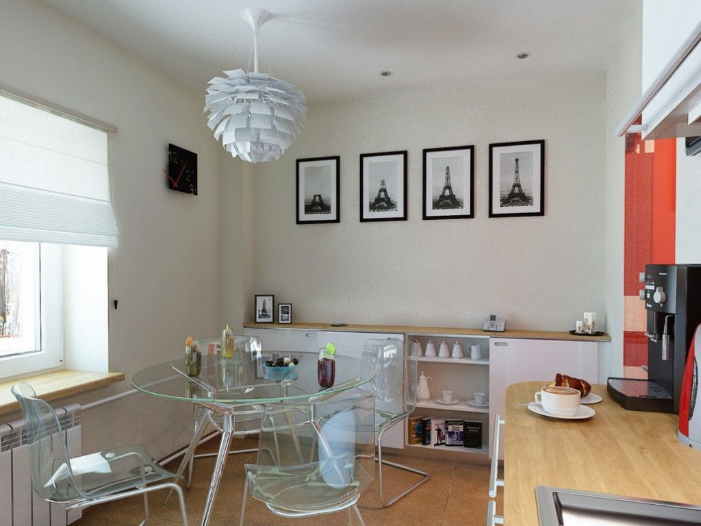 Glass furniture in the modern kitchen is almost invisible, especially in the bright light kitchen interior