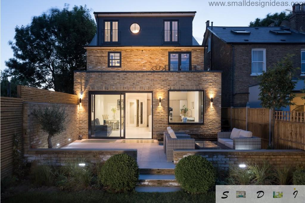 Exterior design of the modern London`s house  in British traditions