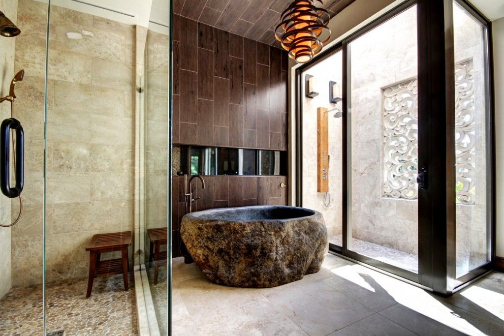 Oriental Style Bathroom Design Ideas with grandeur natural materials notes