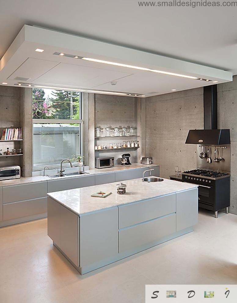 Modern hi-tech white fresh design of the kitchen