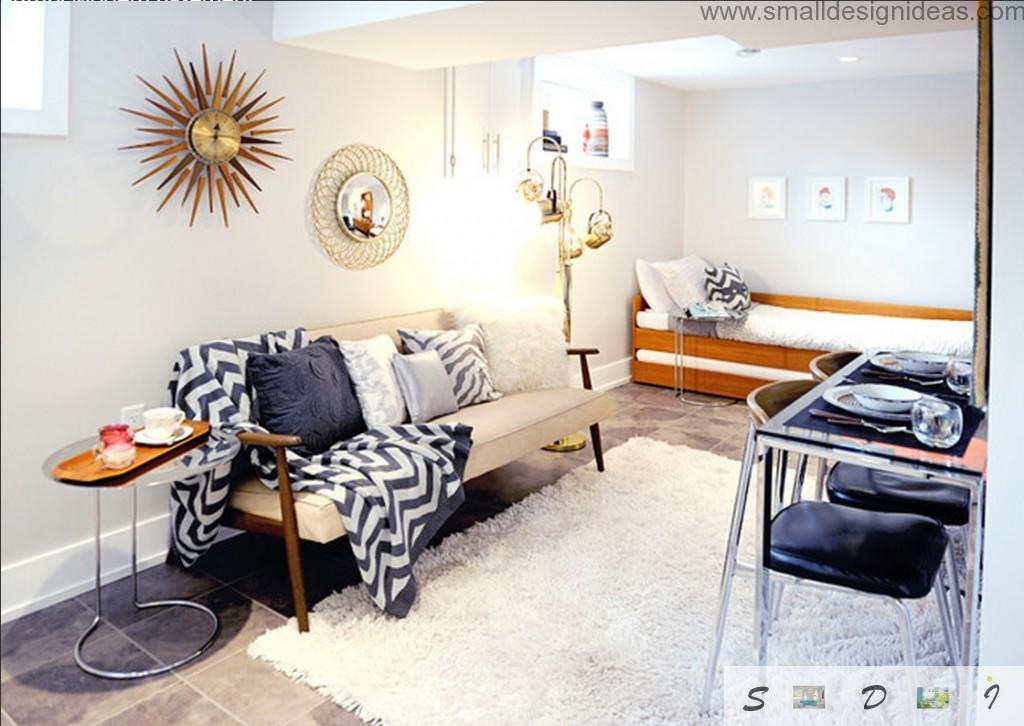Small Living Room Decorating Ideas in the small white condo with bright golden elements