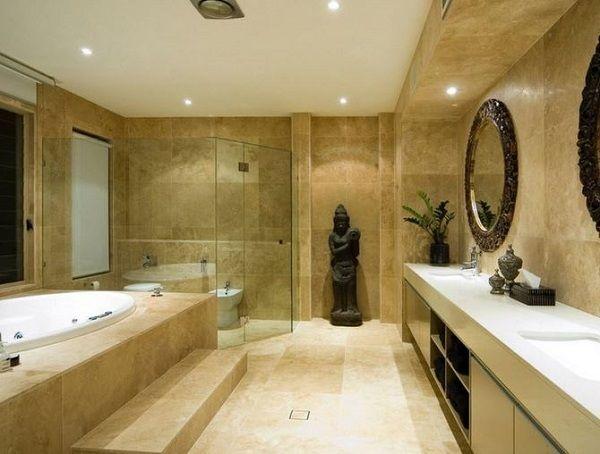 Oriental Style Bathroom Design Ideas with statue of Buddha