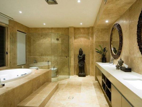 Oriental Style Bathroom Design Ideas with statue of Buddha