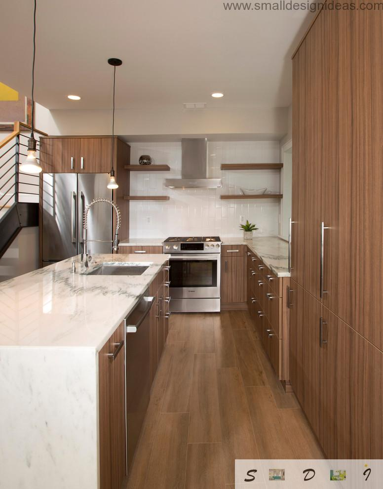 Kitchen Furniture Design Pictures with wooden surfaces