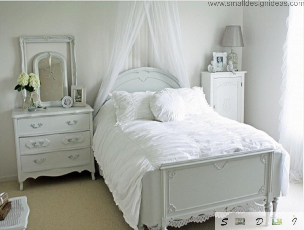 Provence bedroom in the light silver color scheme