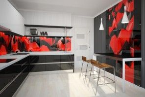 Red and black theme in the modern kitchens design of glass backsplash
