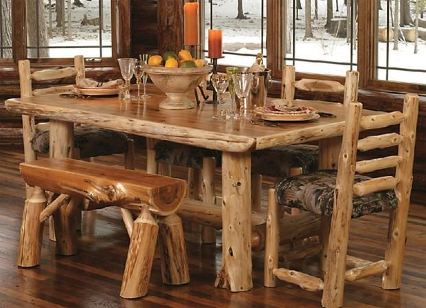 Cruse timber made furniture in the rustic log cabin house