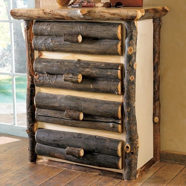 Unique raw wooden handmade furniture for rustic interior