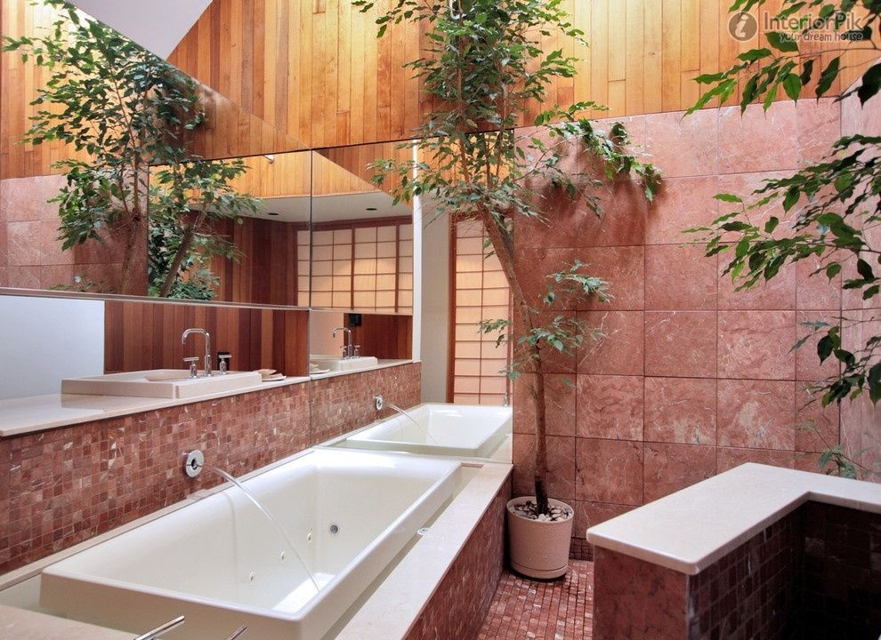 Pink Japanese bathroom interior design